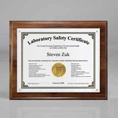 "Genuine Walnut Certificate/Overlay Plaque for 8"" x 6"" Insert"
