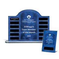 "Blue Steel Contoured Lucite 12-Plate Award on Basewith Easy Perpetual Plate Release Programand 12 Individual 4"" x 6"" Companion Plaques"