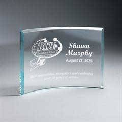 Beveled Clear Glass Crescent Plaque