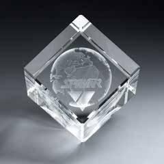 3D Etched Crystal Diamond Cube (xlrg)