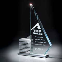 Starphire Glass/Aluminum Levels Award (Aluminum Achievement Bars Sold Separately)