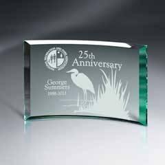 Avignon Crescents Beveled Jade Glass Plaque