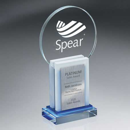 GI572 - Crystal Dimensional Award with Sandblast Imprint and Silver Lasered Plate