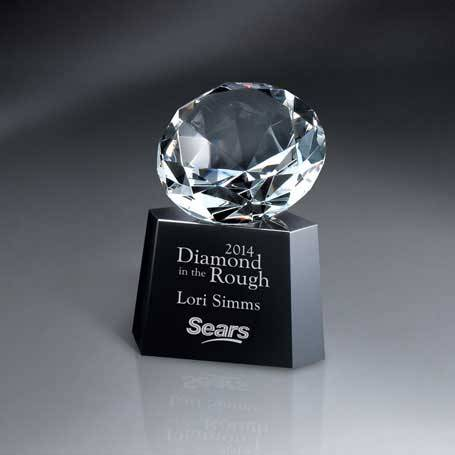 GM466 - Optic Crystal Diamond on Black Glass Base(Includes Silver Color-Fill on Base)