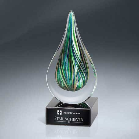 GM638 - Green and Gold Art Glass Drop on Black Glass Base (Includes Black Lasered Plate)