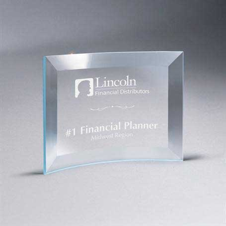 GM667A - Beveled Clear Glass Crescent Plaque