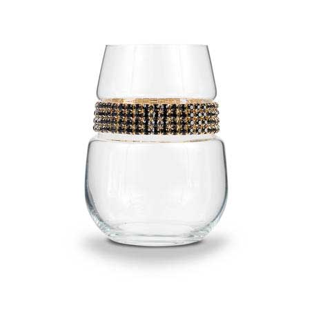 BWSGR - Blank Stemless Wine Glass Raven Gold Bracelet