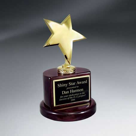 C0632 - Gold Star Trophy on Rosewood Piano Finish Base
