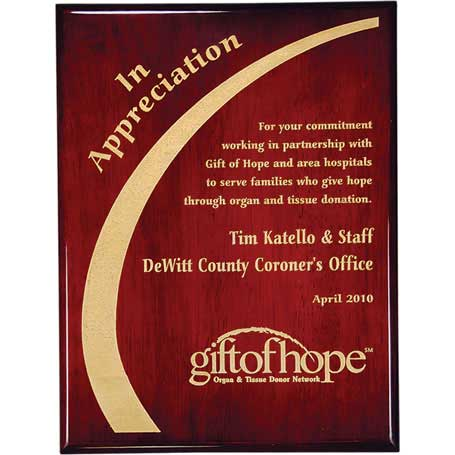 CD171B - Rosewood Piano Finish Plaque with Gold Color-Fill