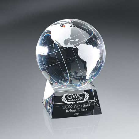 G0713C - Optic Crystal Globe on Base - Large