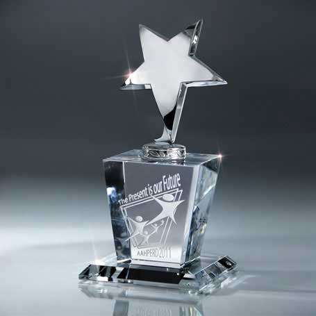 GI16 - Silver Star on Crystal Base