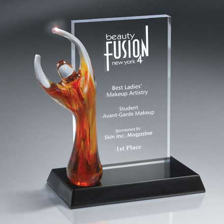 GI545* - Translucent Art Glass Figure on Billboard Style Award