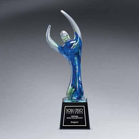GI547* - Translucent Art Glass Figure on Black Glass Base with Black Lasered Plate
