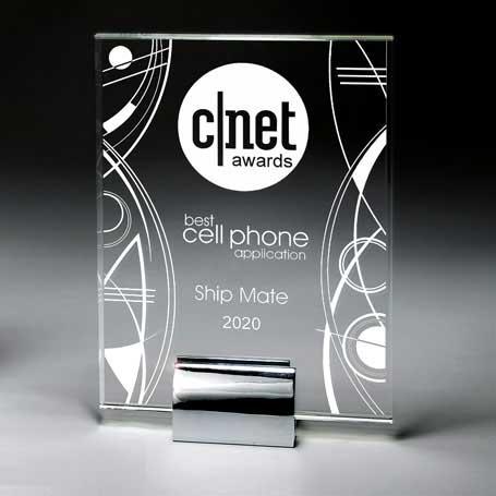 GI573B - Optic Crystal Tablet with Chrome-Plated Aluminum Base
