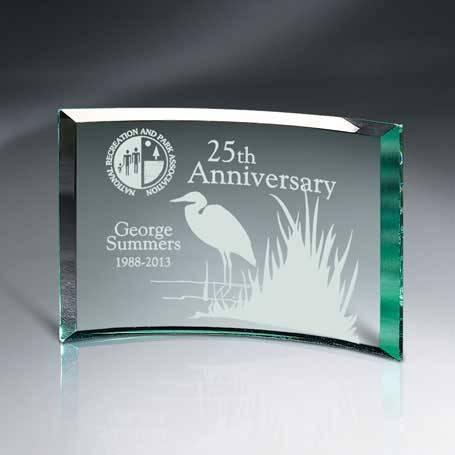 GM456C - Beveled Jade Glass Crescent Plaque