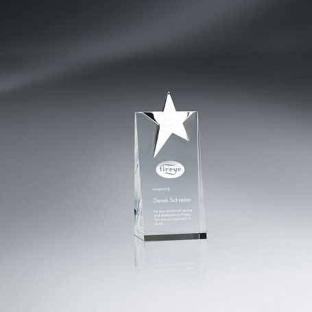 GM562A - Silver Star Topped Optic Crystal Tower - Small