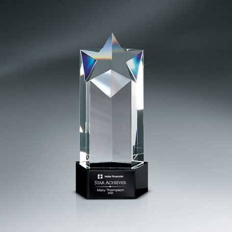 GM623 - Optic Crystal Star Tower Awardwith Black Lasered Plate