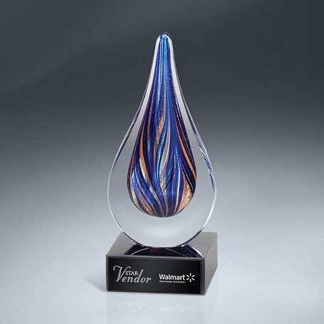 GM637 - Blue and Gold Art Glass Drop on Black Glass Base(Includes Black Lasered Plate)
