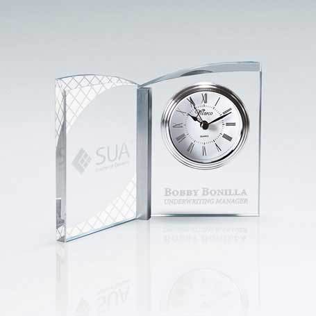 GM681 - Clear Crystal Book Clock with Aluminum Accent