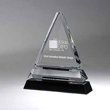 GM718A - Clear Optic Crystal Tiered Pyramid on Black Base - Small