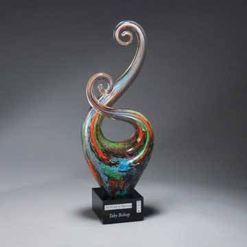 GM720 - Multi-Color Art Glass Swirl  with Black Laser Plate
