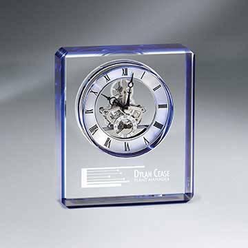 GM724 - Blue Edge Crystal Skeleton Clock
