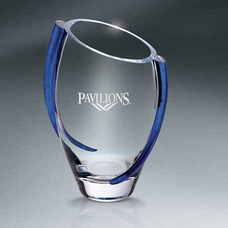 GNS116 - Clear Glass Vase with Blue Swirl Accents