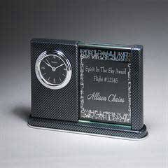 Black Carbon Fiber Tabletop Clock with Black Engraving Plate