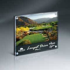 """Magnetic Entrapment with Clear Front  and Black Steel Plate on Black Back Lucite   for 6"""" x 4"""" Insert with 6"""" x 1"""" Lasered Area"""