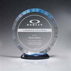 Aqua Wave Circle Award on Ebony Lucite Oval Base