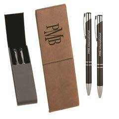 Leatherette Double Pen Case with 2 Blank Pens