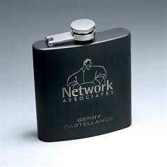 6 oz. Matte Black Stainless Steel Lasered Flask