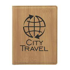 Leatherette Passport Holder , Bamboo