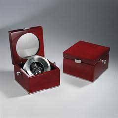 Silver Skeleton Clock in Rosewood Piano Box