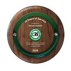 Round Walnut Plaque with Raised Panel - Lrg