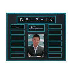 Turquoise and Stone Background Lucite 13-Plt Photo Plaque with Easy Perpetual Plate Release Program