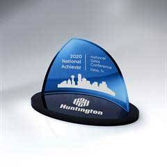 Blue Crescent Glass on Black Oval Glass Base - Small                   (Includes Color-Fill in Both Areas)