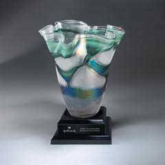 Stunning Vase Resting on Black Ebony Base (Unattached) with Black Lasered Plate