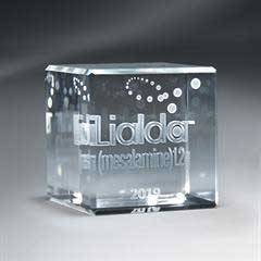 3D Etched Crystal Cube - Large