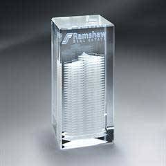 3D Etched Crystal Tower - Small