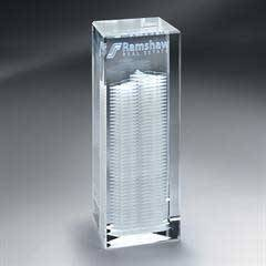 3D Etched Crystal Tower - Medium