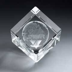 3D Etched Crystal Diamond Cube - Medium