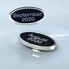 Black and Silver Cloisonné Oval Date Bar-Adhesive (Includes FREE Text Set-up)