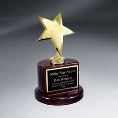 Gold Star Trophy on Rosewood Piano Finish Base
