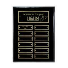 12-Plate Ebony Piano Finish Plaque - Gold