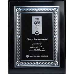 Ebony Piano Finish Silver Embossed Rope Border Plaque with Black Lasered Plate - Medium