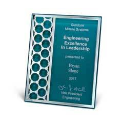 Acrylic Plaque with Mirror Cutout Hex Pattern