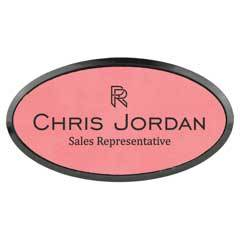 Leatherette Oval Name Badge With Holder & Magnet