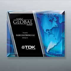Beveled Glass Laser-Through Globe Plaque with Easel