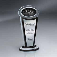 Manhattan Crystal Award with Digi-Color Ovaland Silver Lasered Plate